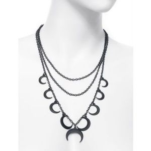 Black layered crescent moon necklace goth witchy